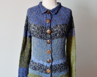 Prim Patchwork Hand Knit Sweater - Women's Hand Knit One of a Kind Sweater in Blues and Greens. Cotton, Merino, Tencel.