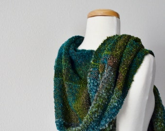 Handwoven Hoodie Scarf in Green, Emerald, Brown, Cerulean Moss Hoodie Scarf. Handwoven, Patchwork, Plaid, Forest, Pixie Hoodie. Fall Fashion