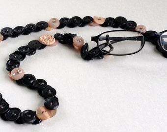 Eyeglass Chain in Vintage Buttons in Black with Peach Accents