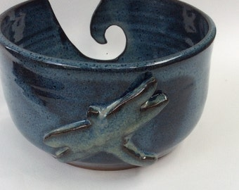 Handmade ceramic knitting and crochet bowl, pottery, blue bowl, dragonfly, gift, ready to ship