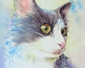 White and grey cat with yellow eyes ORIGINAL watercolor cat painting