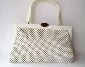 Whiting & Davis Purse Metal Mesh White and Cream Plastic Handle 1940s