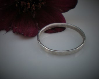 Handmade Argentium Silver Hammered Stacking Ring UK Size N US Size 6 1/2