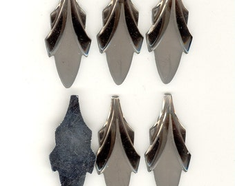 6 Elegant Frost & Shiny GRAY Art Deco Vintage Glass Leaf Cabochons or Pendants 45x19mm