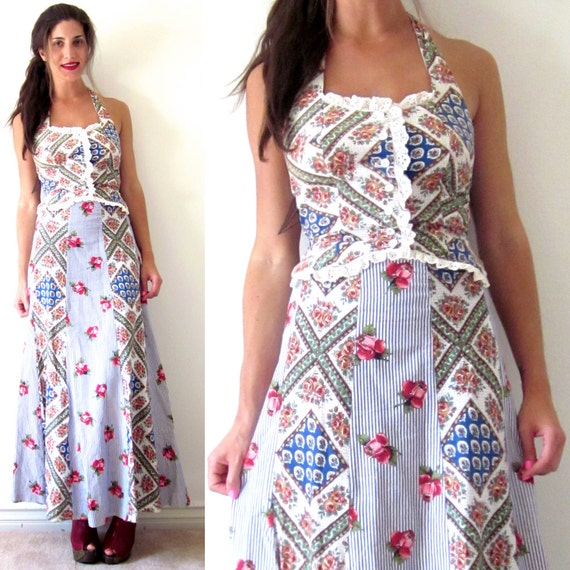 SPRING SALE/ 20% off Vintage 70s Calico Pinstriped Halter Top and High Waisted Maxi Skirt (size xs, small)