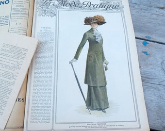 Vintage Antique dated  23 of october 1909 French fashion Issue Magazine La Mode Pratique