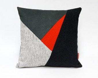 Color block throw pillow handmade from upholstery fabrics 40x40 cm / 16x16