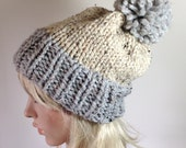 Slouchy Hat Bobble Beanie Women's Knit Hat Chunky Color  Pom Pom Block hat Oatmeal Gray Marble