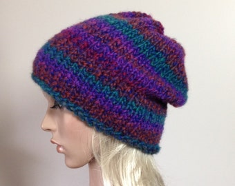 Hand Knit Hat, Slouchy Beanie, Women's Hat, Winter hat, Fall accessories