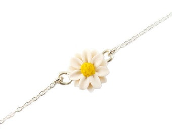 Daisy Sterling Silver Anklet or Bracelet - Daisy Ankle Bracelet Jewelry