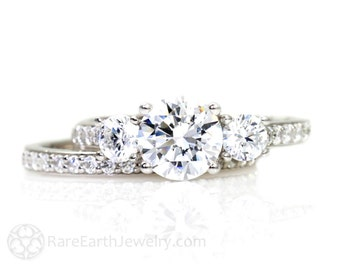 3 Stone Forever One Moissanite Engagement Ring Wedding Set Conflict Free Woven Prong