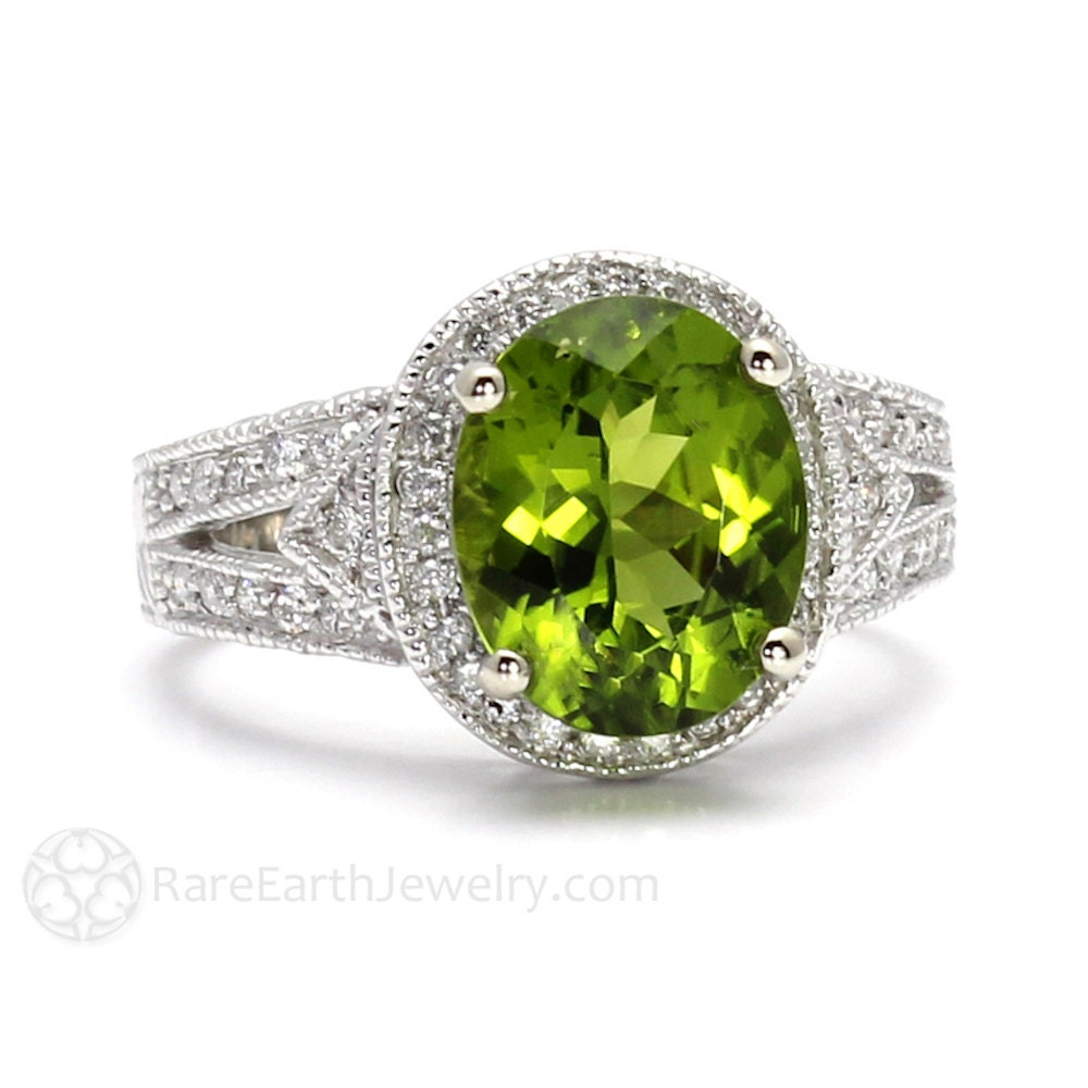 14k peridot ring vintage ring art deco split shank engagement