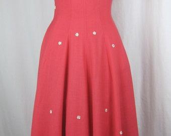 JONATHAN LOGAN hot pink dress vintage 50's flowers swing flare pockets 9 2 4 S