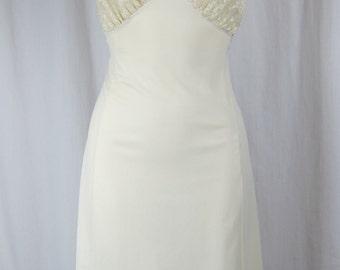 VAN RAALTE vintage slip dress embroidered lace sheer cream floral nylon M L 38