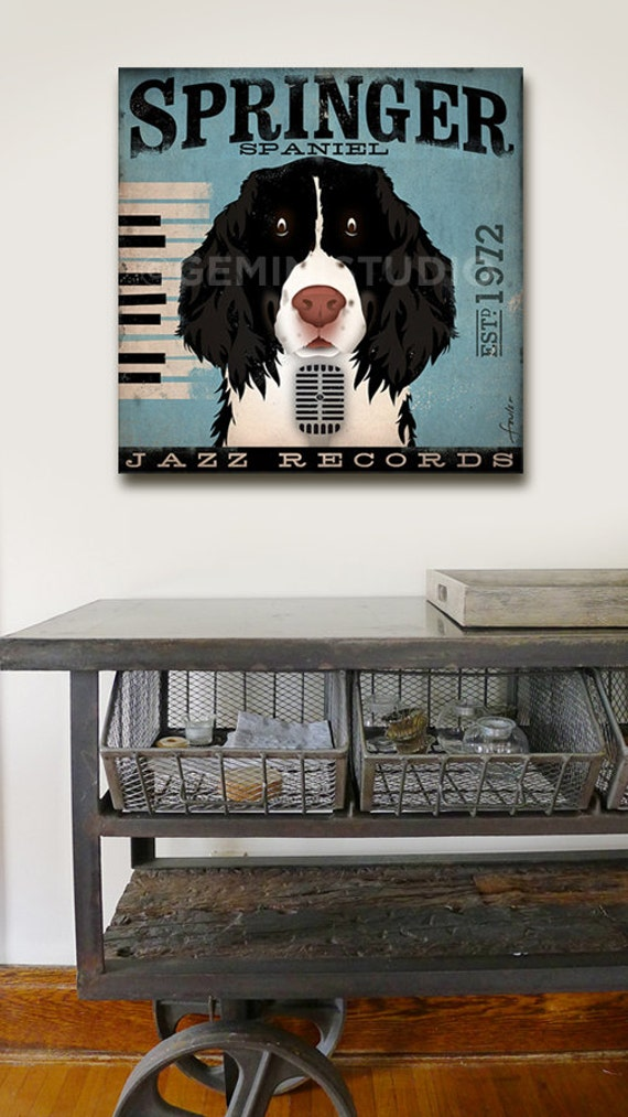 Springer Spaniel Jazz records album style graphic artwork on canvas inches by stephen fowler