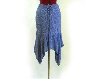 Vintage Skirt, 90s, Fun Pixie Skirt or Short Dress, Flouncy Semi-Sheer, Drawstring Waist, Boho, Rayon, Festival Skirt, Day or Evening