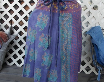 70s wrap skirt Indian Tapestry Head Shop Hip Import Well loved but Cool sz M