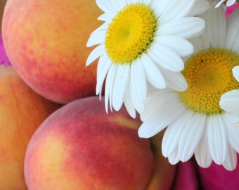 Peaches and Daisies #2 - Still Life - Kitchen Wall Decor - Original Colour Photograph by Suzanne MacCrone Rogers