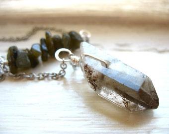 Labradorite Smoky Quartz Crystal Point Necklace, Stone Chain Statement Strand Necklace, Handmade Artisan Birthstone Jewelry