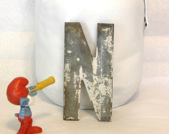 Industrial Vintage Letter N c1900 Salvaged Metal 5 Inch Alphabet Initial