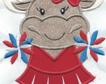Longhorn Cheer Applique Red machine embroidered patch