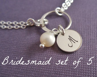 Bridesmaids bracelets set of 5, gold initial bracelet, silver initial bracelet, pearl bracelet, bridesmaid jewelry, flower girl bracelet