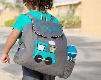 Toddler Boys Train Backpack Custom Handmade