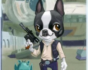 Han Solo Boston Terrier Dog aArt Magnet