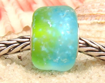 Ocean Bluegreen Seaglass Bead Glaslight Artisan Lampwork Glass Murano Dichroic Sparkle Bead