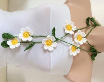 Daisy Flower Scarf, Handmade Crochet Scarf