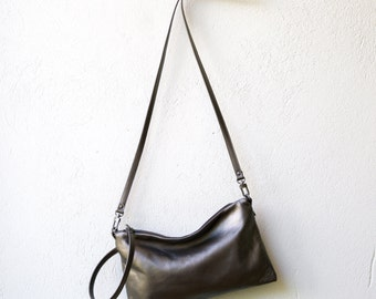 free shipping - Wristlet Clutch large - crossbody pocket clutch with detachable strap - select leather