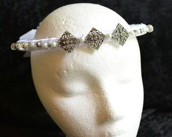 Silver Bridal Crown, White Wedding Crown, Wedding Tiara, Rhinestone Headband, Bridal Headpiece, Bridal Headband Pearl, Bridal Tiara Crown