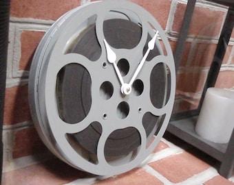 """Movie Reel Clock - Repurposed and Upcycled Vintage Film Reel Wall Clock - 10"""" Diameter -"""