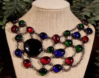 Multi-Colored Stained Glass Collar Necklace