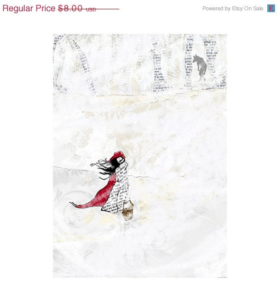1/2 PRICE SALE ACEO Red's winter walk - Red riding hood, wolf & snow print of original art