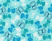 Cherry Blossom Garden fabric by Robert Kaufman Fabrics- Butterfly in Bright (aqua)- You Choose the Cut. Free Shipping Available