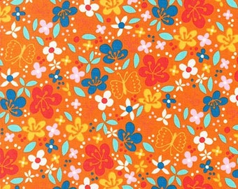 Cherry Blossom Garden fabric by Robert Kaufman Fabrics- Cherry Blossom Floral in Garden (orange)- Choose your cut. Free Shipping Available
