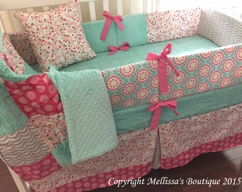 Custom Designer Aqua Pink & Grey MOD Floral Complete Boutique 4-Piece Crib Bedding Set MADE To ORDER