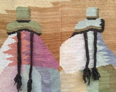 VINTAGE WOOL TAPESTRY...wall hanging from Peru ~ native scene small town ~ ladies at work rustic boho chic