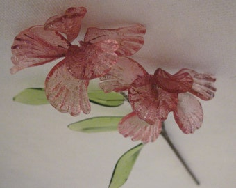 Vintage Bohemian Glass Fuchsia Pink Flower Stem Hand Made