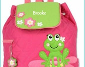 Personalized Frog Backpack, School Bookbag, Toddler Backpack, Diaper Bag, Childrens Monogramed Backpack, Cute Girl Boy Backpack,School Bag
