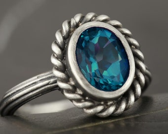 London blue Topaz antique style ring in sterling silver - made using antique tools - solitaire, engagement ring