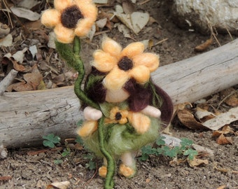 Sunflowe fairy with her bee - Bendy with Fairy Bed - needle felted wool angel Waldorf Inspired by Rebecca Varon