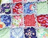 Rag Quilt, Lap Quilt, Amy Butler Fabrics, Love Collection, Bright Colors Quilt, Patchwork Quilt, Floral Rag Quilt, Handmade Quilt