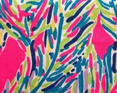 "lilly pulitzer's multi pink palm reader dobby cotton fabric square 18""x18"""