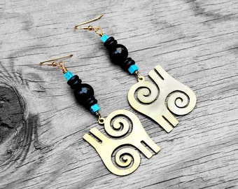 African Earrings, Adinkra Symbol, Adrinkra Earrings, Brass Earrings, Tribal Earrings, For Her, Kwatakye Atiko Brass African Adinkra Earrings