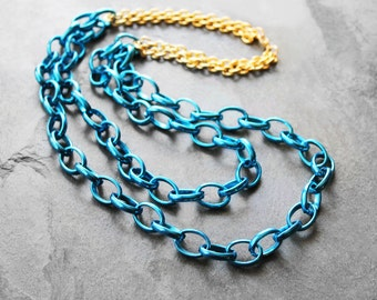 Chain Necklace, Swag Necklace, Blue Chain Necklace, Layered Necklace, Statement Necklace, Metallic Blue, Urban Chic Blue Chain Necklace