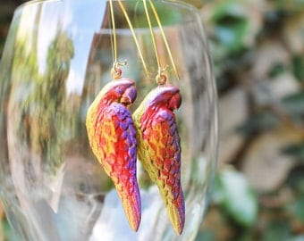 Parrot Earrings, Parrot Jewelry, Brass Parrot, Colorful, For Her, Tropical Parrot, Island Jewelry, Pretty Colorful Parrot Brass Earrings