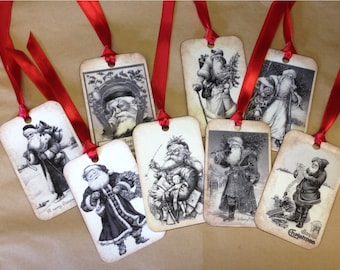 Christmas Gift TAGS - Vintage Inspired - Set Of 8 Assorted Vintage Santas - Santa Claus - Set A