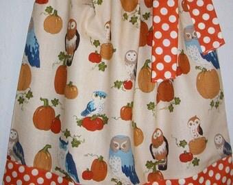 Girls Dress Pillowcase Dress October Owl Dress Alexander Henry Fall Dress Autumn Dress with Pumpkins baby dress toddler dress Thanksgiving